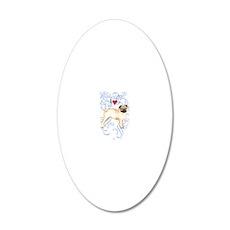 pug-oval charm 20x12 Oval Wall Decal