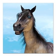 "Smiling Horse Square Car Magnet 3"" x 3"""