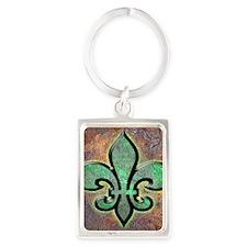 Green Fleur De Lis Portrait Keychain