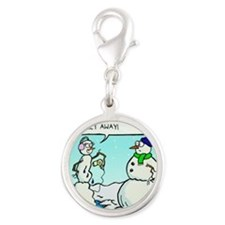 weight loss for snowmen Silver Round Charm