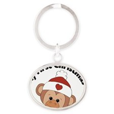 my first christmas girl monkey Oval Keychain