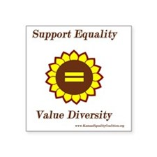 "Support Equality Sunflower Square Sticker 3"" x 3"""