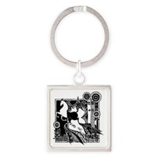 short_glass_1.5x1.5_horse_black Square Keychain