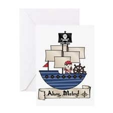 AhoyMateyPirateShip Greeting Card