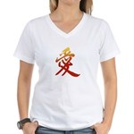 Kanji Love Women's V-Neck T-Shirt - Kanji T-Shirts