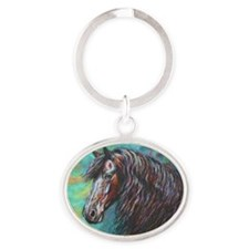Zelvius the Friesian horse Oval Keychain