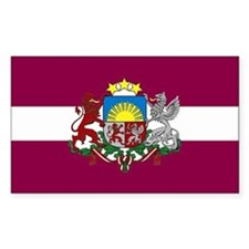 Latvia w/ coat of arms Rectangle Decal
