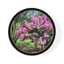 Glorious Pink Crepe Myrtle Bush Wall Clock