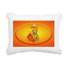 Wall Peel Flaming Dragon Rectangular Canvas Pillow