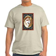 Red Siberian Husky Designer T-Shirt