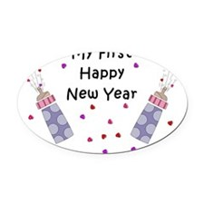 Babys First New Year Oval Car Magnet