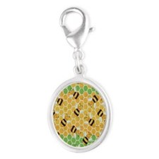 Honey Bee Yellow Silver Oval Charm