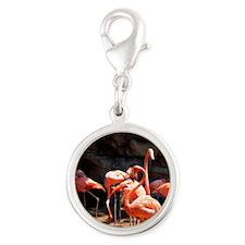 Flamingos Silver Round Charm