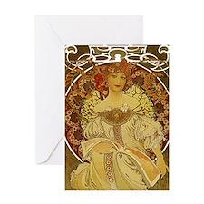 Dreams by Alphonse Mucha Greeting Card