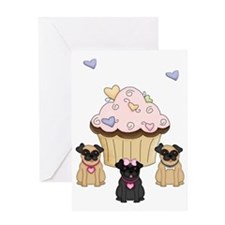 Cupcake Pug Dogs Greeting Card
