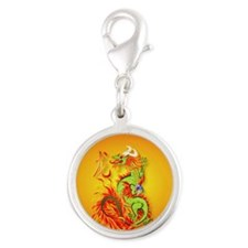 Circle ornament Flaming Dragon Silver Round Charm