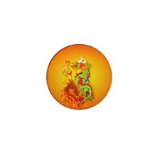 Circle ornament Flaming Dragon with Sy Mini Button