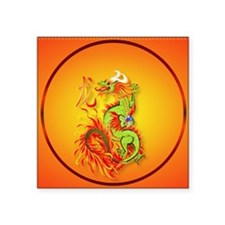 "Circle ornament Flaming Dra Square Sticker 3"" x 3"""