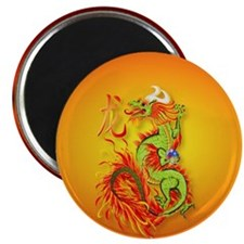 Circle ornament Flaming Dragon with Symbol Magnet