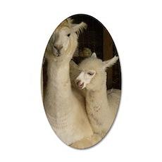 Llama Mama and Child 35x21 Oval Wall Decal