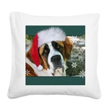 xmasstbernardsantahatsml Square Canvas Pillow