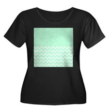 Mint Green and Zigzags. Plus Size T-Shirt