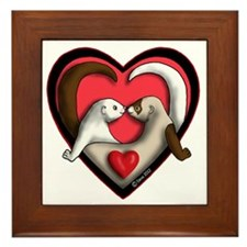 Valentine Ferret Heart Framed Tile