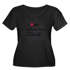 czechosl Women's Plus Size Dark Scoop Neck T-Shirt