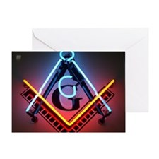 Neon Square and Compasses Greeting Card
