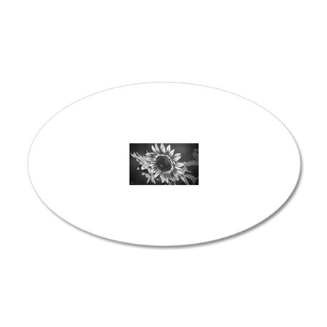 Black and White Sunflower 20x12 Oval Wall Decal