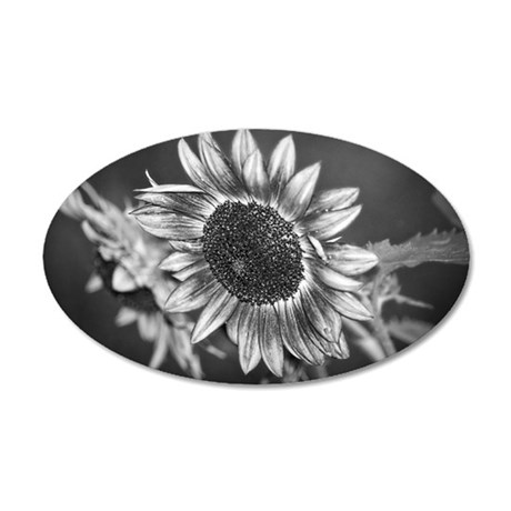Black and White Sunflower 35x21 Oval Wall Decal