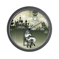 The Wonderland Reader by Bethalynne Baj Wall Clock