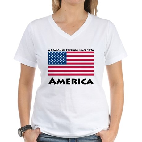 America Freedom Women's V-Neck T-Shirt