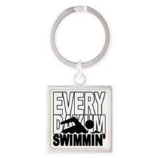 swimming2_wht Square Keychain