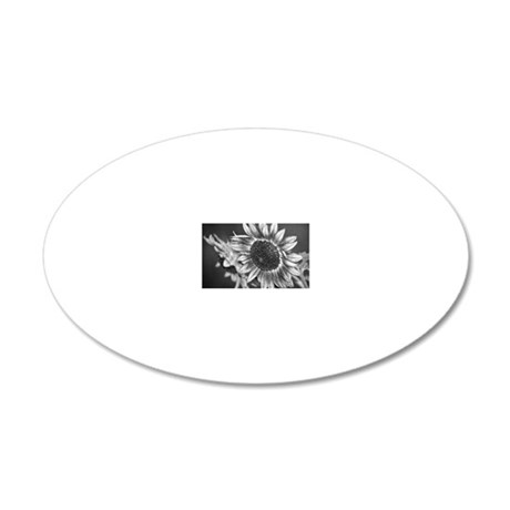 Black and White Sunflower8x1 20x12 Oval Wall Decal