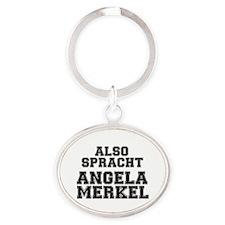 ALSO SPRACHT - ANGELA MERKEL Oval Keychain