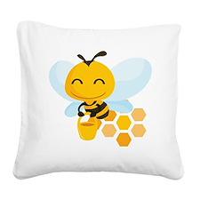 happy_honeybee Square Canvas Pillow