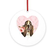 basset rose-heart Round Ornament