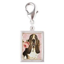 basset rose-oval key Silver Portrait Charm