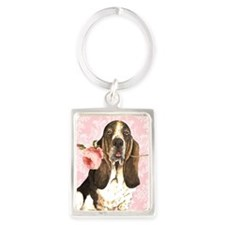 basset rose-oval key Portrait Keychain