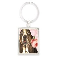 basset rose-key Portrait Keychain