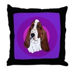Adorable Basset Hound Throw Pillow