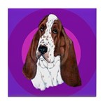Adorable Basset Hound Tile Coaster