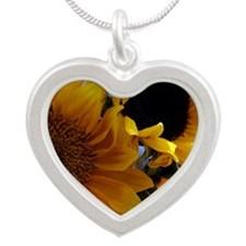 sunflowers magnet Silver Heart Necklace