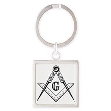 Square and Compasses Square Keychain