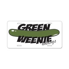 Black Green Weenie Aluminum License Plate
