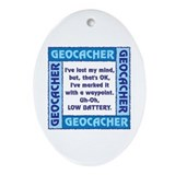 Blue Geocacher Lost Mind Oval Ornament