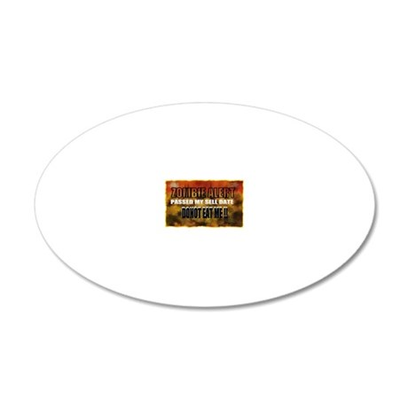 zombie alert 20x12 Oval Wall Decal