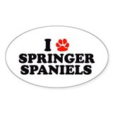I Heart (Pawprint) Springer S Oval Decal