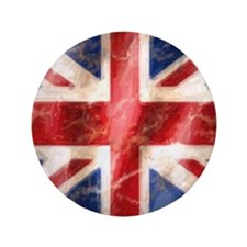 "475 Union Jack Flag square and large 3.5"" Button"